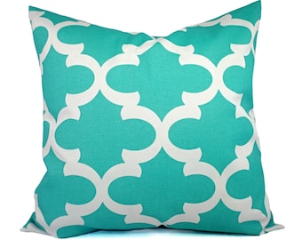 Two Indoor Outdoor Pillow Covers - Quatrefoil Pillow Covers - Aqua Pillow - Teal Pillow Covers - Patio Pillow - Accent Pillow