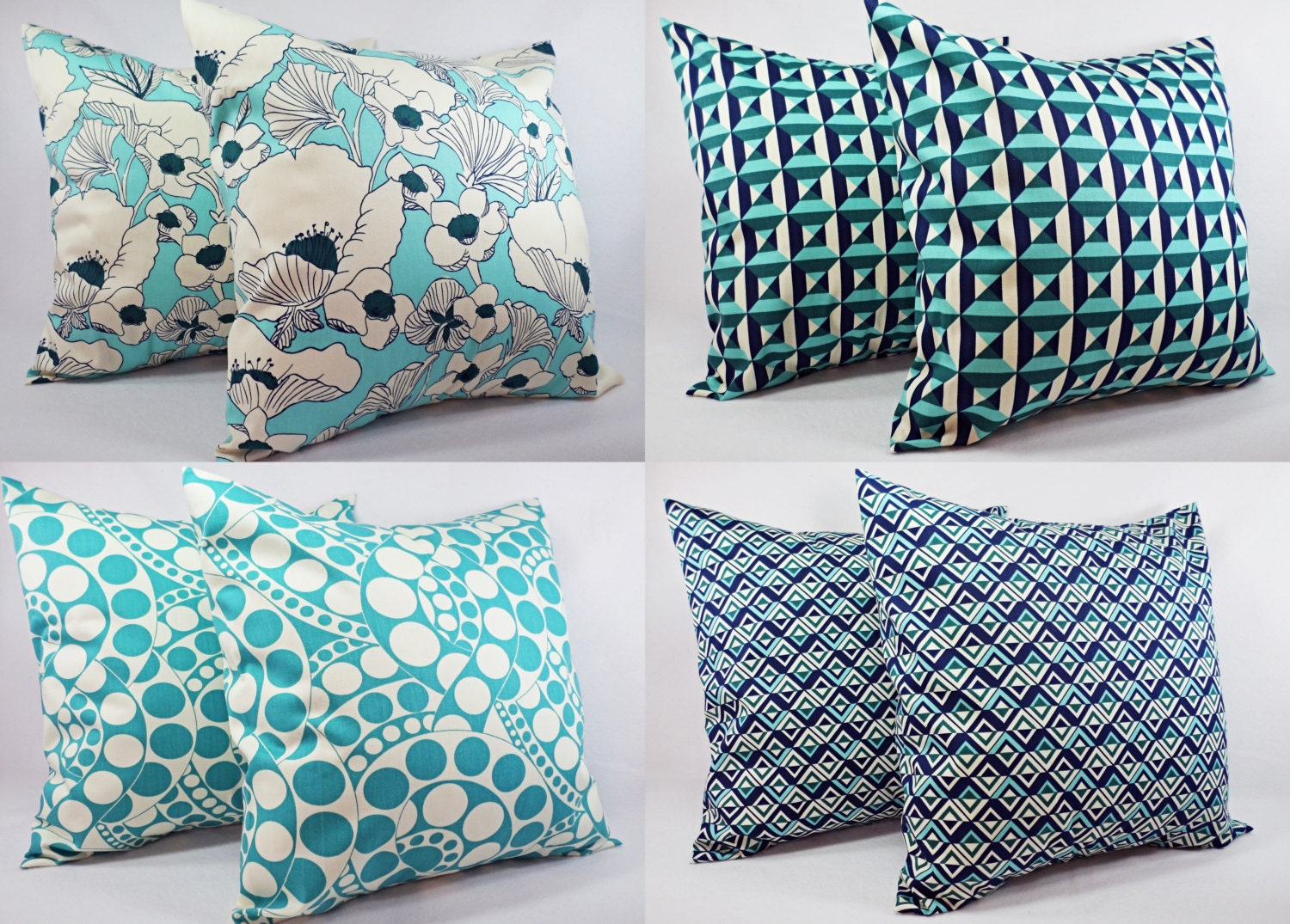 Throw Pillow Covers Teal : Navy and Teal Pillow Cover Teal Pillow Cover Decorative