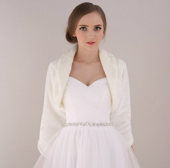 Ivory Bridal Faux Fur Bolero Winter Wedding Gown By