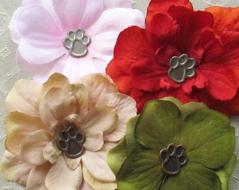 Paw Print Mini Hair Flower Clips/Pins or Shoe Clips - 5 Colors/Styles!