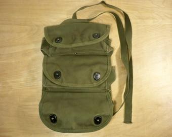 Vintage US Korean War Medic Red Cross Grenade Carrier Combat Green Canvas Military Bag Pack Made in USA