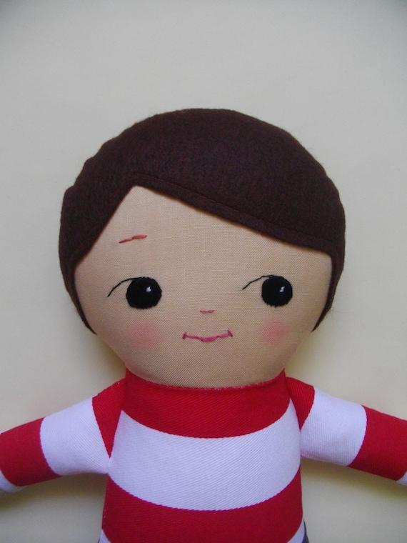Boys Plush Toys : Boy ragdoll custom handmade cloth doll plush toy rag