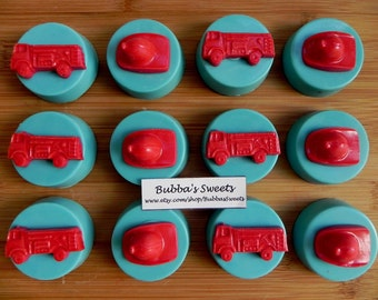 FIREFIGHTER or FIREMAN Chocolate Covered Oreos (12) - FIREFIGHTER Birthday/Fireman Favors