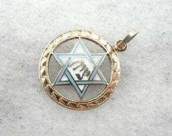 Vintage Enamel And Gold Star Of David Pendant D7E1T9-R