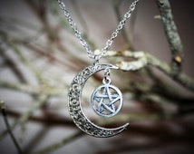 Moon and Pentacle Necklace - Wiccan Jewelry Occult Jewelry Silver Pagan Jewelry New Age Pentagram Necklace Witch Jewelry - metaphysical
