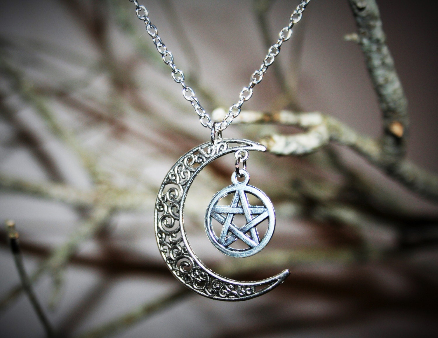 moon and pentacle necklace wiccan jewelry occult jewelry