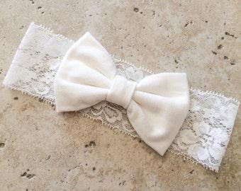 Cream bow on lace turban headband cream bow cream lace headband bow turban turban headband