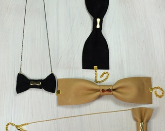 Leather bow statement necklace in black