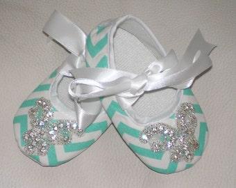 Chevron Baby Shoes, Rhinestone Chevron Baby Shoes, Baby Crib Shoes, Bling Baby Shoes