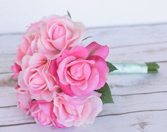 Wedding Natural Touch Pink and Hot Pink Roses or Bridesmaid Silk Flower Bride Bouquet - Almost Fresh