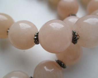 Vintage Light Pink Rose Quartz  Round Stone Beads Handmade Women Necklace Charming