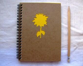 Sunflower Peek-a-boo- 5 x 7 journal- Your choice Peek a boo color