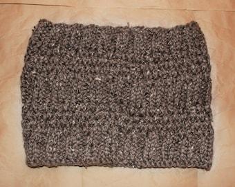 Brown Tweed Knit Cowl Scarf