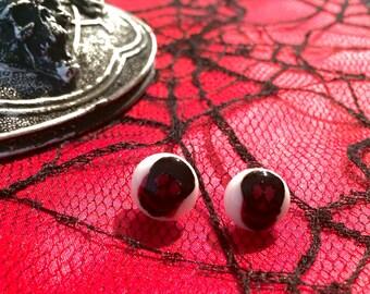 Black and red glass skull earrings
