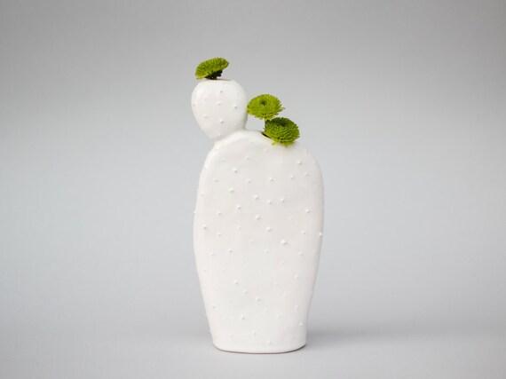 Original ceramic cactus shaped vase/ handmade vessel/ ceramic design/ white/ spring