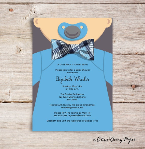 Bow Tie Baby Shower Invitations Olive Berry Paper LLC