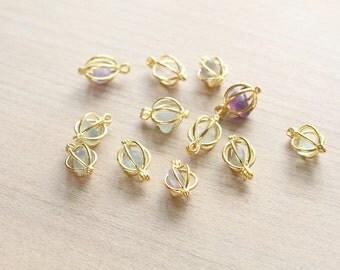 5 pcs of Natural irregular Polished Flourite gemstone in Lantern Cage Pendants with Brass Findings - Gemstone Pendants