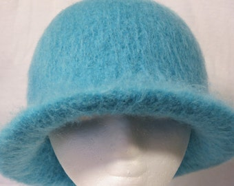 Hat Wool Felted Aqua with Flared Brim