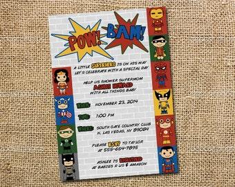 Superhero Baby Shower Invitation