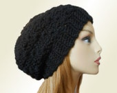 BLACK SLOUCHY HAT Crochet Knit Chunky Slouchy Beanie Wool Slouch Beany Women Hats Accessories Teen Winter Hat Gift Idea