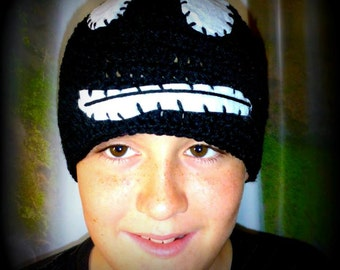 Cool ghost beanie hand made from wool and felt great for kids and teens