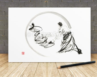 Aikido Art Print Mens Gift Idea, Martial Arts Illustration of two Men, Japanese Painting Home Decor