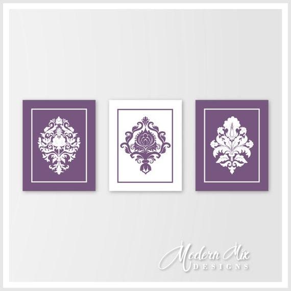 Purple Wall Decor For Bathroom : Purple bedroom wall art bathroom damask