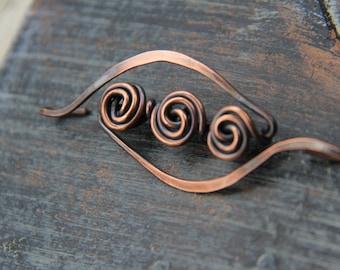 "Shawl pin ""Rose Trio"", oxidized copper wire wrapped shawl pin, scarf pin, brooch"