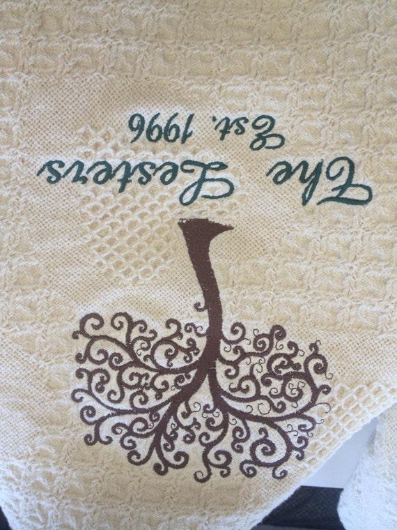 Family Tree Honeycomb Heart Afghan, Heirloom Keepsake Throw, Embroidered Blanket, Modern Family Tree Afghan