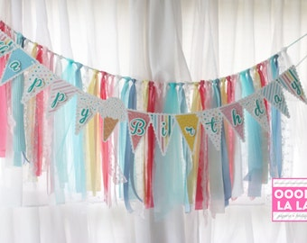MADE TO ORDER Ice Cream Social-Themed Happy Birthday Banner- (ribbon garland not included)