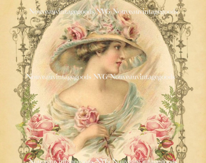 Digital Victorian Lady, Rose Framed Victorian Woman, Shabby Chic Roses,  DIY Printable Mother's Day, French Pillow Digital