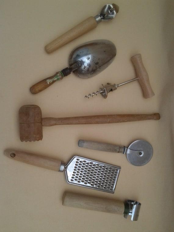 Vintage Rustic Wood Handle Kitchen Tools By Pennylanetreasures