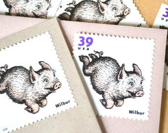 5 Charlotte's Web Pig Postage Stamps for Mailing FIVE Baby Shower and Birthday Invitations
