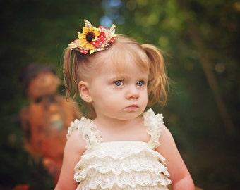Scarecrow Hat Ribbon Sculpture Hair Clip. Fall Hair Bow. Thanksguving Hair Bow