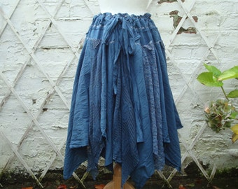 Tattered Upcycled Fairy Skirt Woman's Clothing Shades of Denim Blue Tribal Cotton Layers Mori Girl Woodland