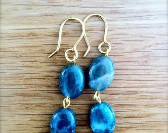Long Amazonite Earrings on Gold Wire