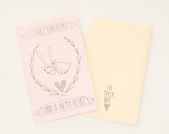 MOLESKINE notebook. Moleskine journal. Hand Illustrated.  I carry your heart, poem. pastel pink.