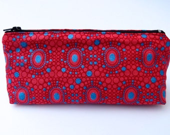 Handmade Make-up bag in beautiful red, geometric pattern with blue sparkly detail