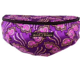 Butchi & Gosmos 'Swirlpool' Bumbag / Fanny pack / Hip bag in deep purple with gold print and pink detail