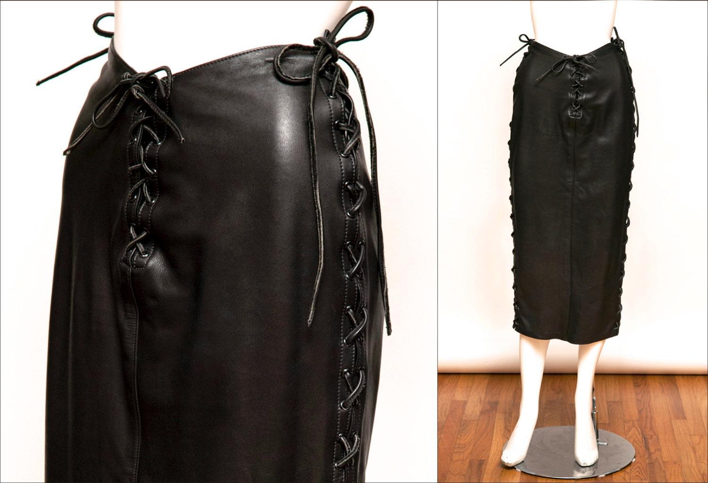 agatha blois custom leather 90 s black skirt with tie