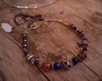 Amber Bracelet, Swarovski Crystal Black and Amber Stones, Earthy Bracelets
