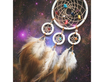 White dream catcher, four hoop, faux suede, natural feathers & gemstone beaded web - 7cm diameter dreamcatcher hand made