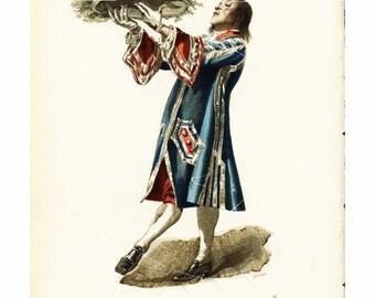 Antigue French Costume Print -Un valet le portait, marchant a pas comptes, Comme un recteur suivi des quatre facultesOriginal Dated 1873