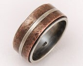Wedding band ring for men - silver copper ring,elegant ring,men engagement ring, wide wedding band