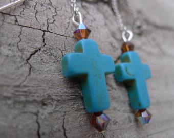Swarovski Crystal and Turquoise Stone Ear Thread Earrings