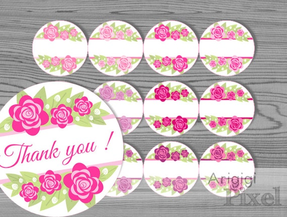 pink flowers labels template - printable  - 2.5 inches