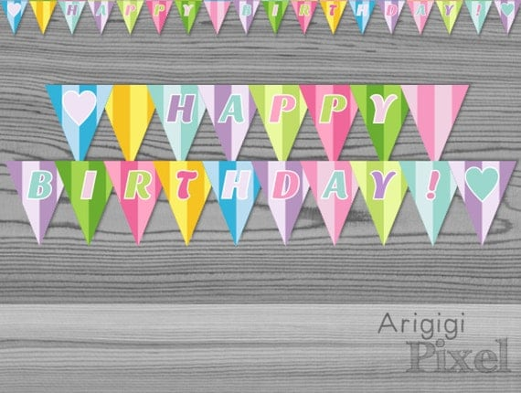 Instant Download Colorful Garland - Happy Birthday + Mini Cake Banner