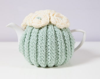 Green Hand Knit Tea Cozy with Cream Crocheted Flowers. Teapot Cozy.