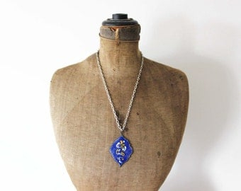 Blue Enamel Necklace - Blue Enamel Pendant Necklace - Blue and Gold Pendant on Chunky Silver Chain Necklace