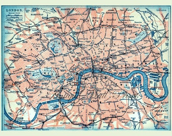 LONDON Map Antique Map A5 to A0 sizes 11 x 8 inches Poster Print blue